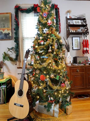 Erin Castle's vintage Christmas tree  includes ornaments from her family's past.