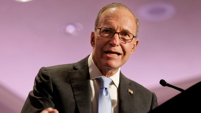 In this May 14, 2014, file photo, Larry Kudlow speaks at the New York State Republican Convention in Rye Brook, N.Y.