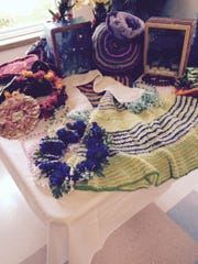 Some of Minnie Nyman's craft work was on display Saturday at her 107th birthday party at Park Place.