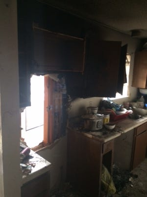 The scorched kitchen in Ile des Cannes.