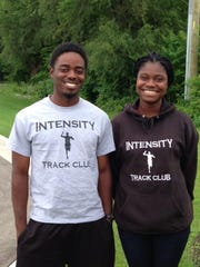 Intensity Track Club coaches Jamal Johnson, left, and