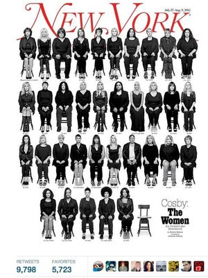 35 women appear on the latest cover of New York magazine. They have accused Bill Cosby of sexual assault.