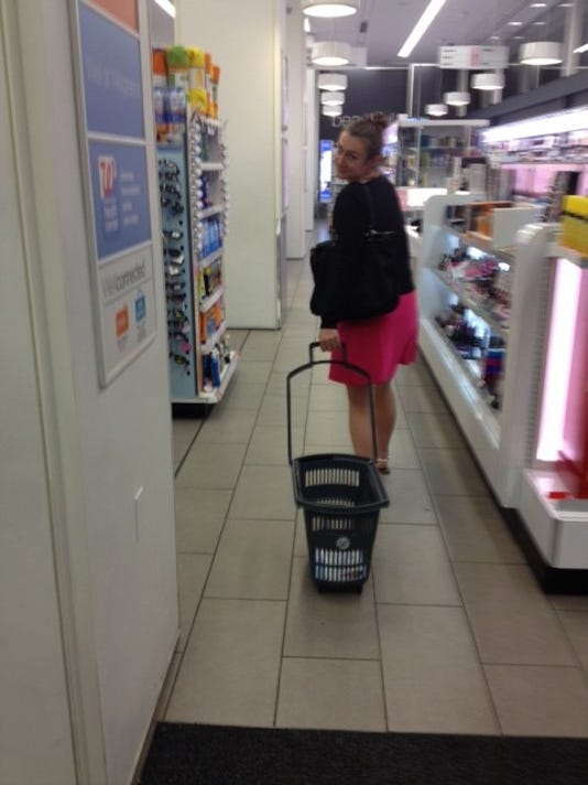 Me, in Walgreens with the crazy basket-cart.