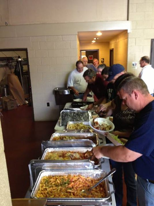 Firefighters in Glen Rock fill their plates with donated food. Photo submitted.