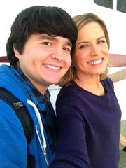 "Lincoln Castellanos with actress Kim Dickens on set of ""Fear the Walking Dead,"" premiering on AMC Sunday."