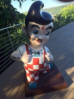 A Big Boy statue that was taken from a Fairview backyard has been found, with some embellishments.
