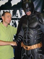Chris Bohjalian meets Batman at the Champlain Valley Fair in 2008.