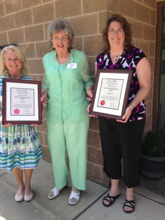 The Pennsylvania Association of School Retirees Educational Support, Lauretta Woodson Award was presented by Sandy Golden, AC/PASR chair of the educational support committee at the spring meeting in Bendersville. From left, are Josie Pole, Sandy Golden and Angie Brasee.