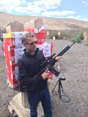 Staffers at the Republican presidential debate on Wednesday, Sept. 16, 2015, in Simi Valley, Calif., shared photos of a stoic Rand Paul, in dark sunglasses, in an action movie star pose at a gun range.