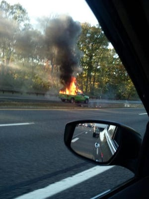 A Chevrolet pickup caught fire on the Garden State Parkway