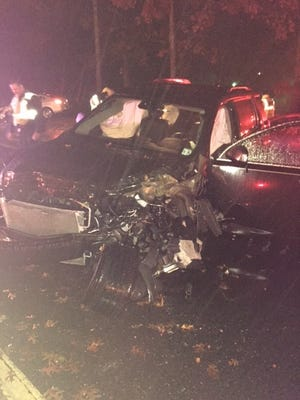 One person was injured in a crash in Brick.