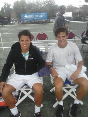 Former UWF tennis star Bruno Savi, left, who teamed with Chris Ephron to reach last year's doubles fnals, returns to compete this year in the annual Pensacola Futures Tennis Championship at Roger Scott.