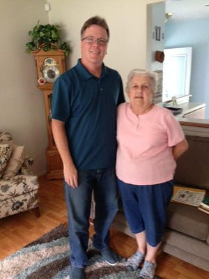Student and teacher reunited after 50 years: Tim Smith (left) and Mary D'Ambrosio (her maiden name).