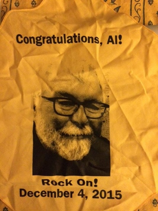 Al Casey's face graced neckerchiefs brandished by the crowd to wave good-bye.