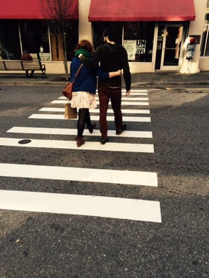 This crosswalk on Haywood Street was recently re-striped.
