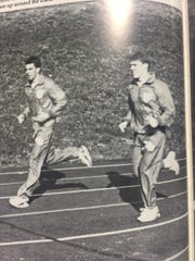 Rutgers football coach Chris Ash runs the track at Ottumwa High School in this yearbook photo.