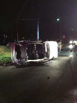 A Jeep landed on its side Monday night in Waynesboro following a crash at the intersection of Park Road and Randolph Avenue