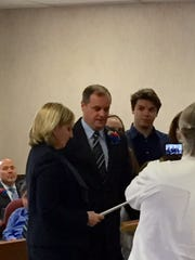 Councilman John A. Bacchione is sworn in by Lt. Gov. Kim Guadagno at the Berkeley Township reorganization meeting Friday. Bacchione was unanimously elected council president by his fellow council members.