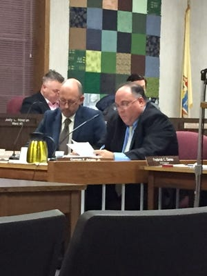 Berkeley Administrator John Camera (l) and Mayor Carmen F. Amato Jr. at Monday night's Township Council meeting.