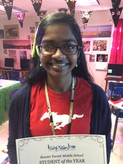 2016 Bossier Parish Middle School student of the year is Bhavani Tivakaran.