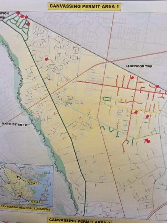Toms River cease and desist map