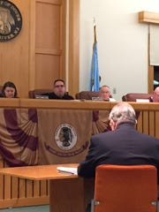 Attorney Edward Liston gives his summation as the Toms River Board of Adjustment listens Thursday night.