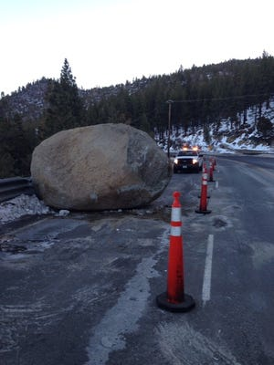 A large boulder rolled onto westbound U.S. 50 in the Glenbrook area of Lake Tahoe on Saturday evening and will be removed on Monday.