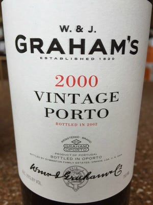 W. & J. Graham's Vintage Porto 2000 (founded 1820), $120. 20 percent alcohol, Douro Valley, Portugal. An example of first-rate vintage port, both in quality and price. Part of the Symington port conglomerate.