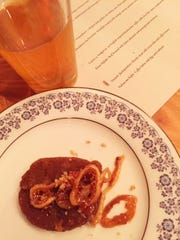Coffee halva with figs and walnuts; paired with blond
