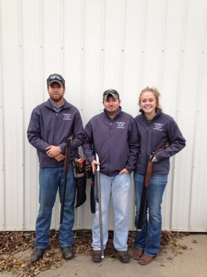 Braden McClenathan, left, Daniel McCammant and Claire Solem are part of the Iowa Central Community College's Central Iowa Shooters sports shooting team. Both McClenathan and Solem are from Brooklyn and McCammant is a Grinnell resident.