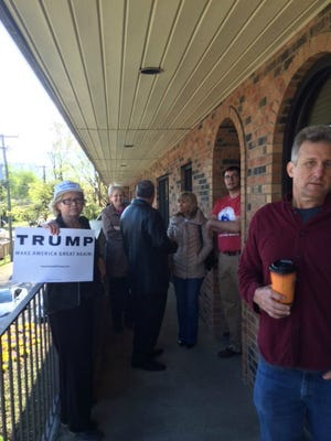 Donald Trump supporters stand outside the Tennessee Republican Party meeting Saturday morning .