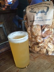 Pork rinds at the Prohibition Pig Brewery with the