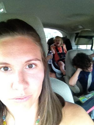 Katie Parsons and family on a road trip last year.