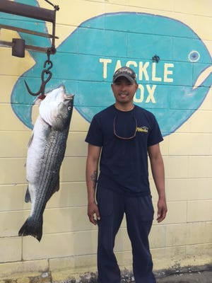 Drew Recio, Hazlet, with a 31 1/2 pound striped bass. He weighed the fish at the Tackle Box in Hazlet.