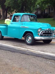 A vintage pickup takes part in the annual Norfork Pioneer Days parade.
