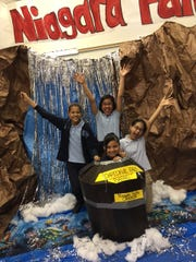 Canada School No. 6 5th graders SKalyn Guy, Stephanie Carreno , Dayanara Flores and Fabiana Lopez are ready to go over the falls.