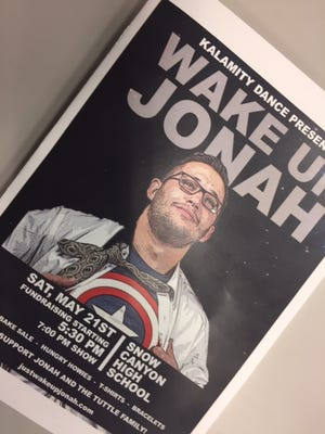 Jonathan Tuttle is seen in this image of a program bill for the dance benefit in his behalf Saturday at Snow Canyon High School. Tuttle was injured last month in a longboarding accident in Snow Canyon State Park.
