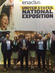 The Enactus-RVCC presentation team displays its award at the Enactus 2016 National Expo in St. Louis, Missouri. Left to right:  Tyler Vaughn, Teal Nicholson, Tyler George, Stephanie Altholtz, Justin Suriano, and Frank Pongratz.