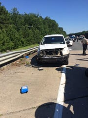 A Vernon Parish Sheriff's Office patrol unit was damaged as a high-speed police chase on Tuesday ended with a crash.