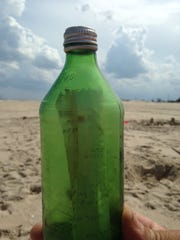 Karen Ball's green bottle, found 45 years later by