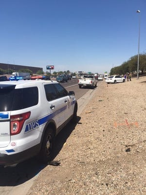 The DPS says a six-vehicle collision occurred after a road-rage incident on I-10 near 51st Avenue in Phoenix on June 28, 2016,