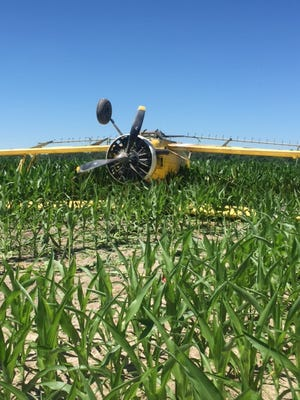 A crop duster was forced to land after mechanical failure near Laurel Saturday.