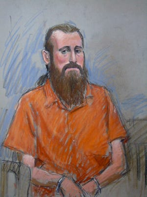 Sebastian Gregerson,  was ordered jailed Thursday, August 4, 2016,  after a federal prosecutor painted a portrait of a dangerous man. Courtroom sketch by Jerry Lemenu