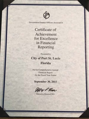 The city of Port St. Lucie has received Certificate of Achievement for Excellence in Financial Reporting for the past 25 years.