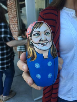 A Gilmore Girls nesting doll painted by Fondren artist Ginger Williams Cook. Fans of the show lined up at Deep South Pops in Jackson Wednesday for free Luke's Diner coffee.