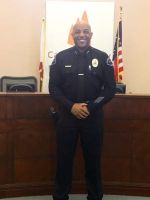 Cathedral City Deputy Police Chief Travis Walker at his swearing in ceremony in September.