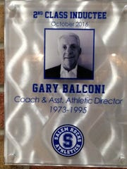 Gary Balconi's plaque in the Salem Wall of Champions.