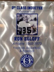 Ron Egloff's plaque in the Salem Wall of Champions.