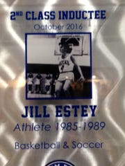 Jill Estey's plaque in the Salem Wall of Champions.