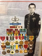 A composite showing U.S. Army Command Sergeant Major Ralph Villar of Salinas with some of the many medals he earned during nearly 30 years of service.